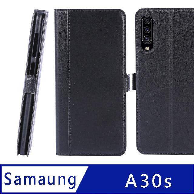 CASE SHOP Samsung Galaxy A30s/A50  專用熱壓款前收納皮套-黑
