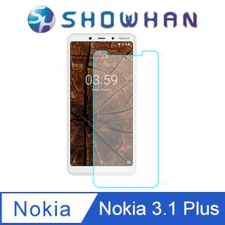 【SHOWHAN】NOKIA 3.1 Plus (6吋) 9H鋼化玻璃0.3mm疏水疏油高清抗指紋保護貼(半版)