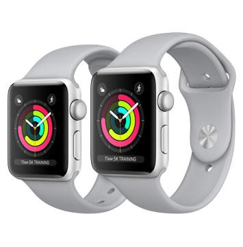 Apple Watch Series3 38mm 銀色鋁金屬錶殼搭配薄霧灰色運動型錶帶