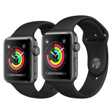 Apple Watch Series3 38mm太空灰色鋁金屬錶殼搭配黑色運動型錶帶