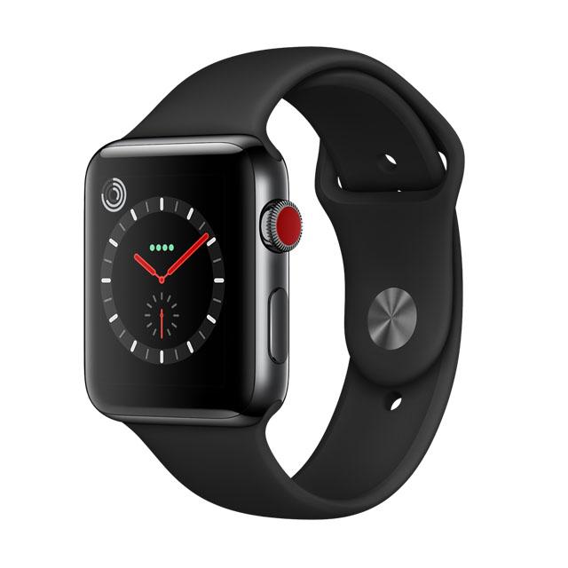 Apple WatchSeries 3 GPS+Cellular 42公釐太空黑色不銹鋼錶殼● 搭配黑色運動型錶帶 ●