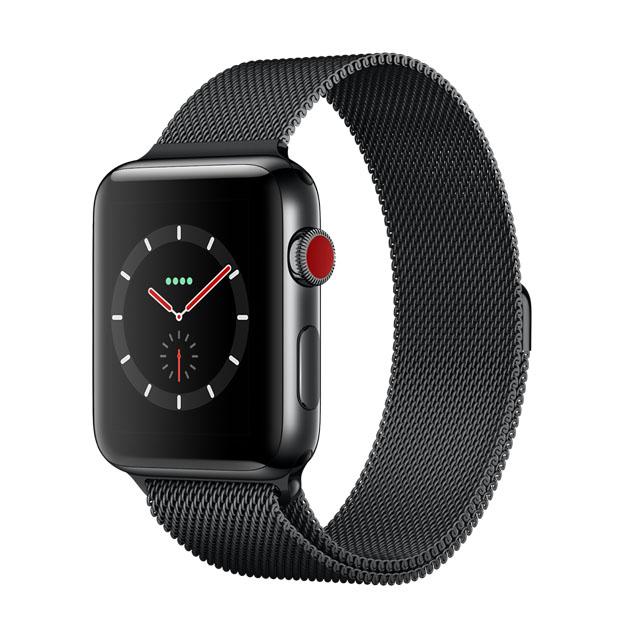 Apple WatchSeries 3 GPS+Cellular 42公釐太空黑色不銹鋼錶殼● 搭配太空黑色米蘭式錶環 ●