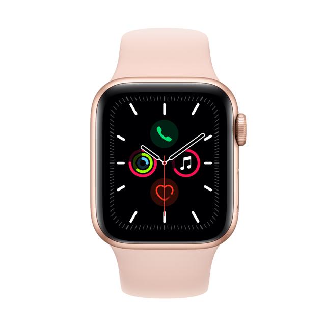 Apple Watch S5 GPS, 44mm金色鋁金屬錶殼 運動型錶帶