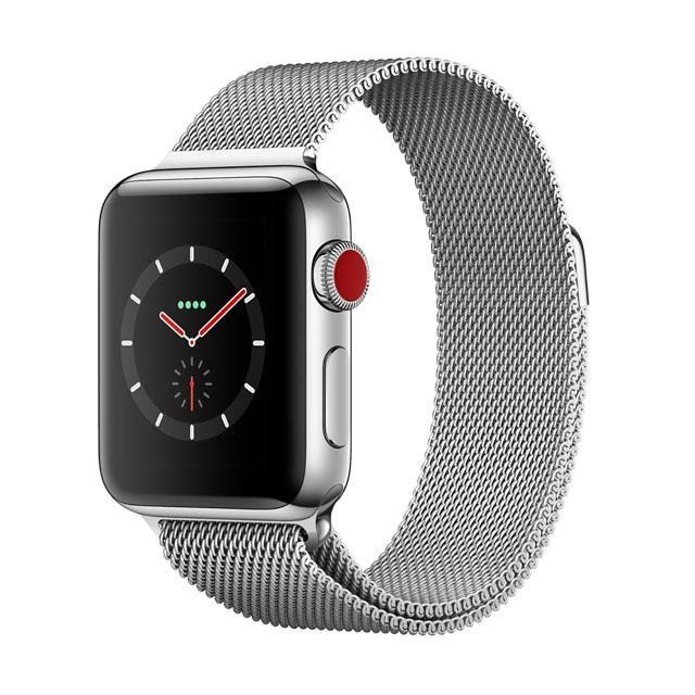 Apple WatchSeries 3 GPS+Cellular 38公釐不銹鋼錶殼● 搭配米蘭式錶環 ●