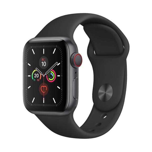 ★福利品出清★AppleWatch S5 LTE40mm,太空灰色鋁金屬錶殼搭配黑色運動型錶帶