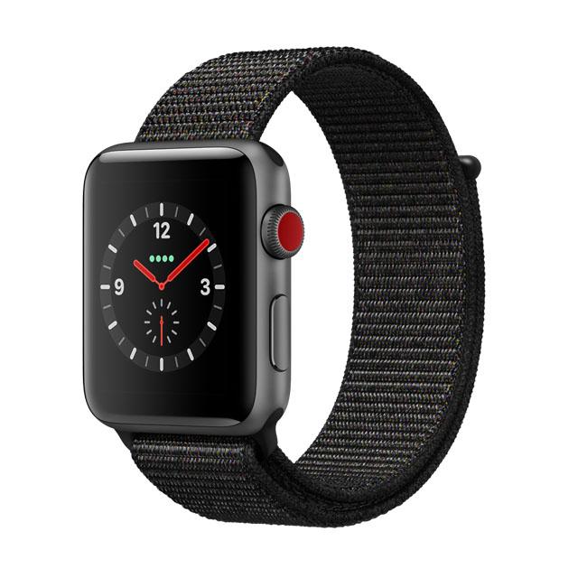 超值組立即省一千Apple WatchSeries 3 GPS+Cellular 42公釐 太空灰色鋁金屬錶殼  ● 搭配黑色運動型錶帶 ●