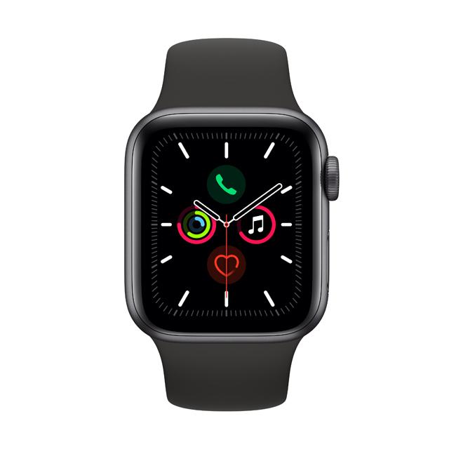 Apple Watch S5 GPS, 40mm Space Grey - Black Sport Band (MWV82TA/A)