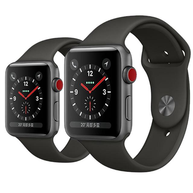 Apple Watch Series3 LTE 42mm (GPS+Cellular) 太空灰鋁金屬表殼搭配灰色運動型錶帶