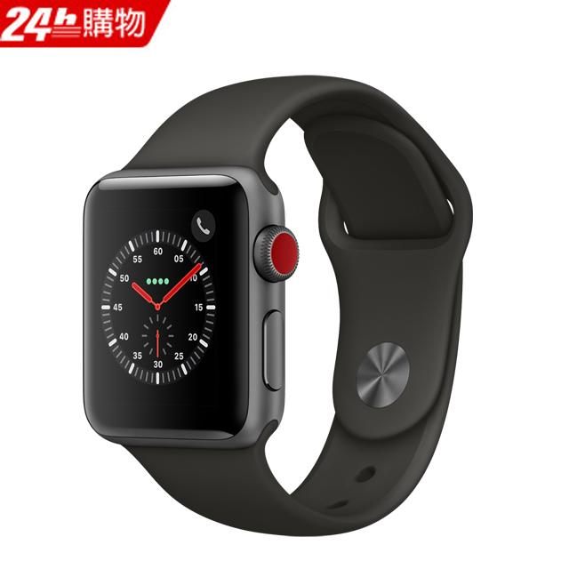 Apple Watch Series 3 38公釐太空灰色鋁金屬錶殼搭配灰色運動型錶帶(GPS+Cellular版)
