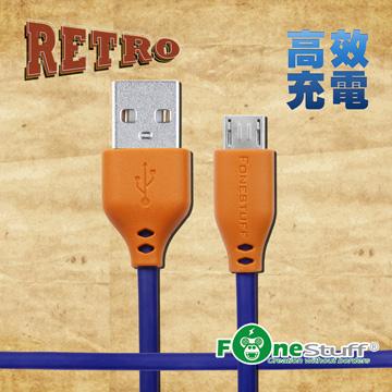 FONESTUFF復古玩色系列Micro USB傳輸線-暗夜藍