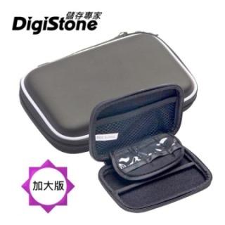 DigiStone 3C多功能防震硬殼收納包【經典皮革】(適2.5吋硬碟/行動電源/記憶卡/3C)-黑【加大版型】