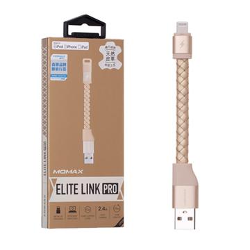 MOMAX Elite Link Pro 真皮編織/蘋果認證連接線(11cm單條包裝 )-金
