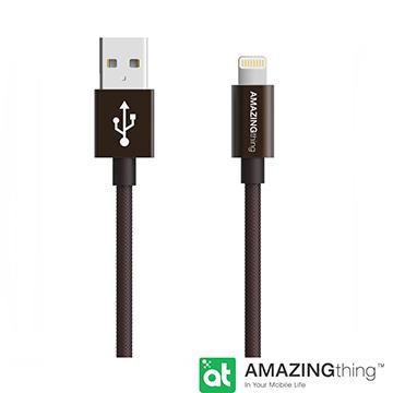 18公分長,Apple LightningAmazingThing Apple Lightning 原廠認証傳輸線(MFi 認證)(18cm/鐵灰)