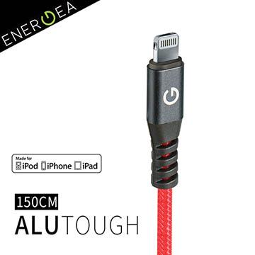 超長5年保固Apple MFi認證 !ENERGEA AluTough 超堅韌耐彎抗折防彈絲Lightning快速充電線(150cm)-紅