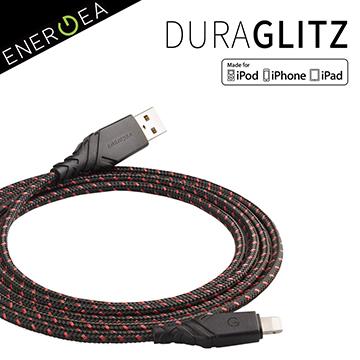超長5年保固Apple MFi認證 !ENERGEA DuraGlitz 超強編織耐彎折Lightning快速充電線(150cm)-紅