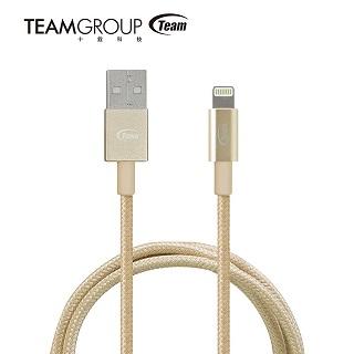 TEAM十銓科技 Lightning編織款 充電傳輸線1M(WC01)_金色