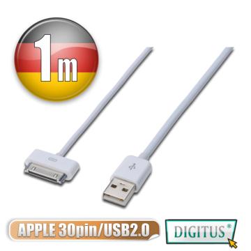 曜兆 DIGITUS Apple 30 Pin轉USB充電傳輸兩用線1M(iPhone4)