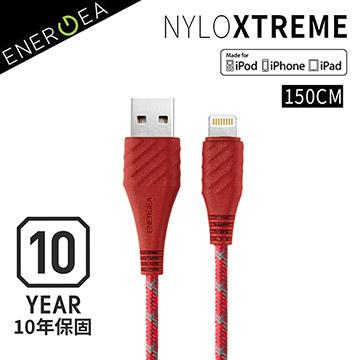 超長10年保固  Apple MFi認證 !ENERGEA NyloXtreme 超強編織耐彎折防彈絲Lightning快速充電線(150cm)-紅