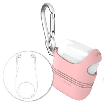 Q彈個性單肩設計 AirPods Apple 藍芽耳機防刮保護套 (內附藍芽耳機掛繩)-莓果粉