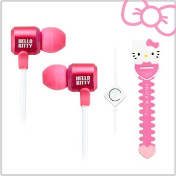 Hello Kitty經典造型線控耳機俏皮粉(KT-EM12P)