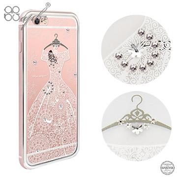 apbs APPLE iPhone6s Plus/iPhone6 Plus 5.5吋 施華洛世奇彩鑽金屬框手機殼-玫瑰金禮服