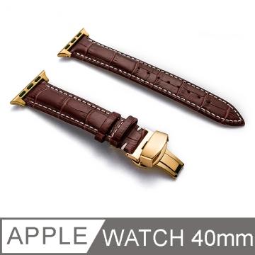 Apple Watch S2/ S3/ S4 經典輕奢質感皮革錶帶 金色扣 38mm/ 40mm 棕色白縫線