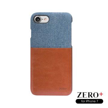 ZERO+ iPhone 7(4.7吋)專用 異材質結合系列皮革質感輕量包覆手機殼(牛仔布/棕)