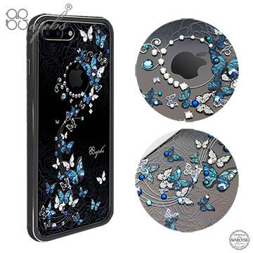 apbs iPhone7 Plus 5.5吋 施華洛世奇彩鑽鋁合金屬框手機殼-消光黑藍色圓舞曲