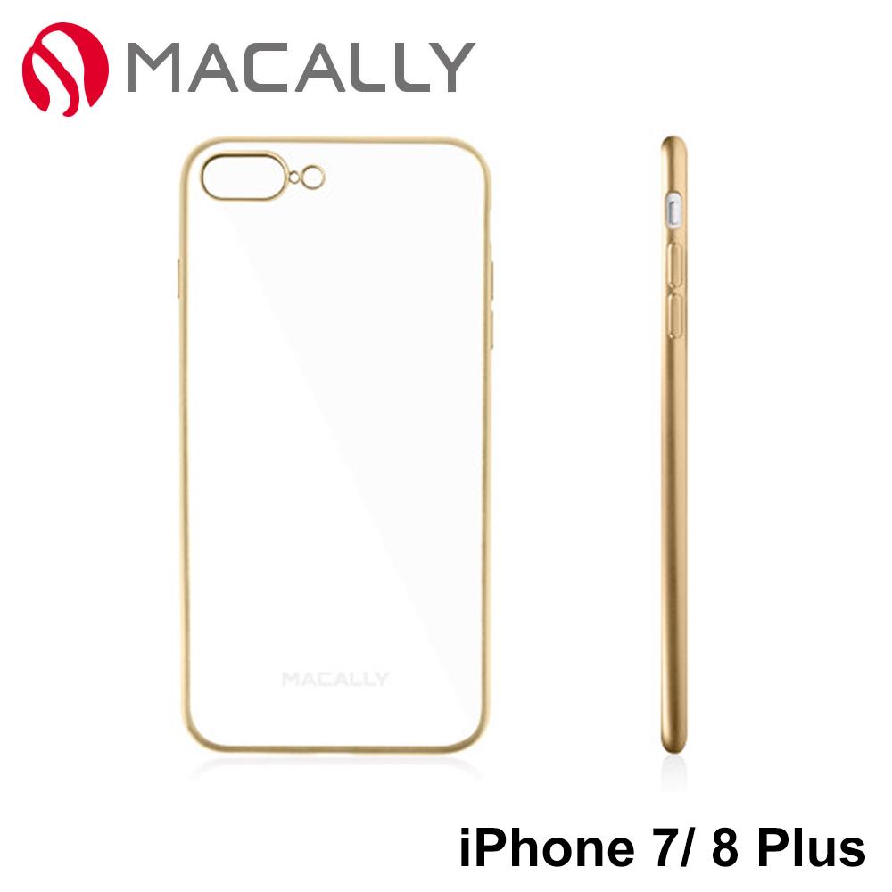 Macally iPhone 7Plus(5.5) 邊框鍍彩保護背蓋(金)