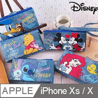 Disney迪士尼iPhone X 牛仔彩繪零錢包保護殼套組(活動可拆式)