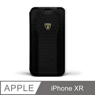 iPhone XR 藍寶堅尼側翻磁扣皮套 - 暗夜黑