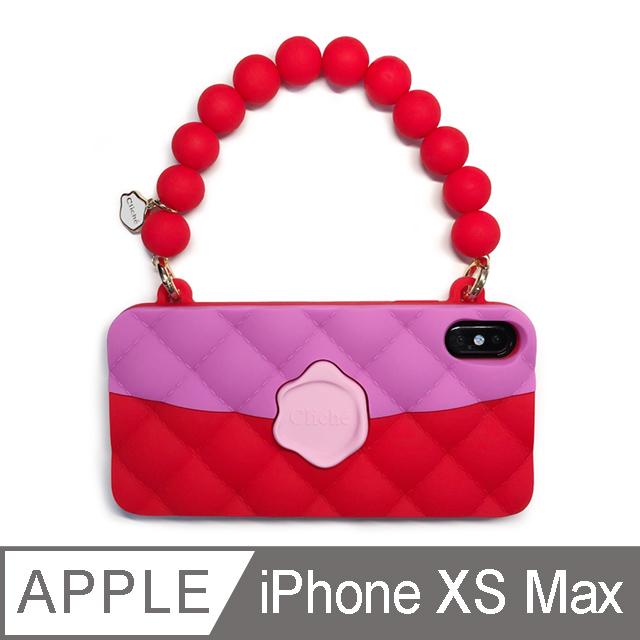 【Candies】經典雙色珠鍊晚宴包(紅) - iPhone XS Max