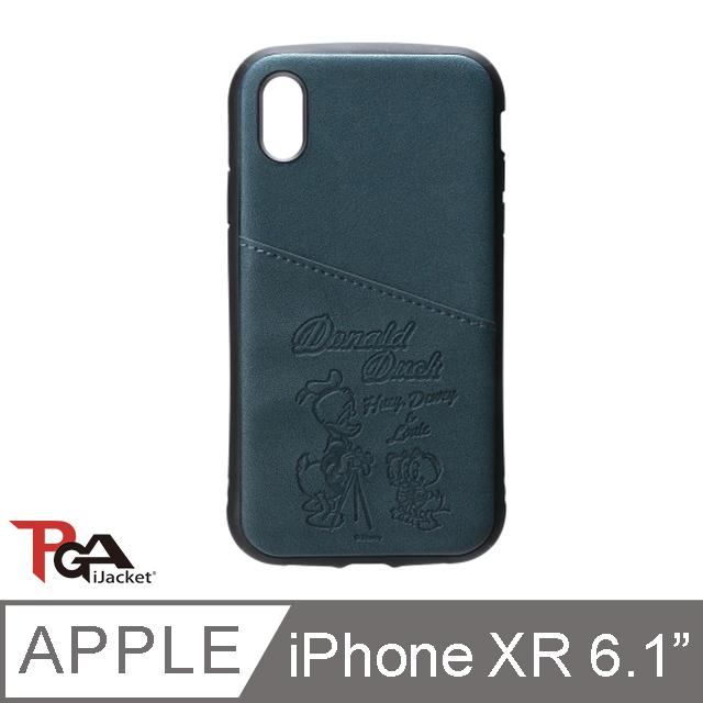 【日本 PGA】iPhone XR 6.1吋 迪士尼 皮革斜口袋 軍規防撞 手機殼-唐老鴨