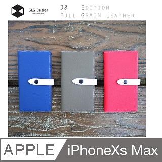 SLG Design iPhone XS Max D8 FGL 舌扣設計款 側掀式真皮皮套