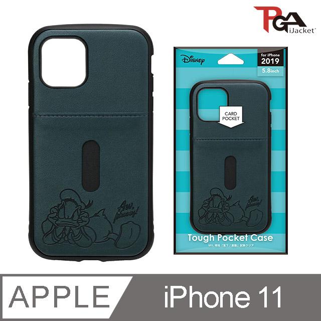 【日本 PGA】iPhone 11 6.1吋 迪士尼 軍規 皮革插卡 雙料殼-唐老鴨