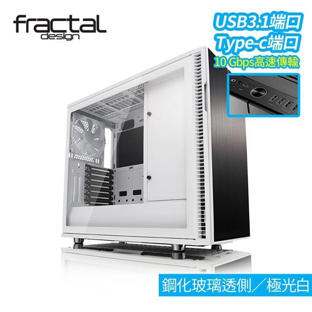 【Fractal Design】 Define R6C TG 極光白  鋼化玻璃透側電腦機殼