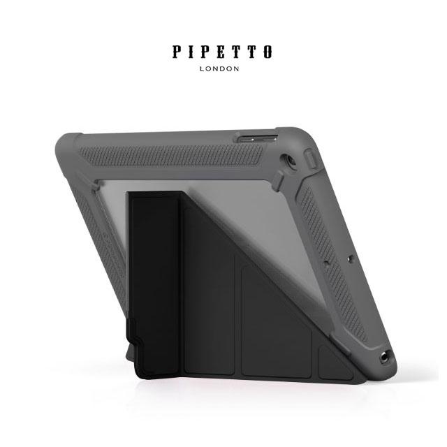 【英國品牌】PIPETTO Origami SHIELD iPad 9.7 2018多角度多功能軍規防摔保護套 - 黑/ 灰色