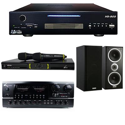 美華 HD-800 點歌機 2TB+BT-889 PRO擴大機+OK-9D II無線麥克風+W-26B喇叭