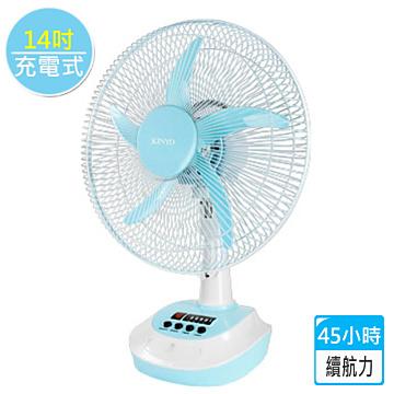 【KINYO】太陽能/充電式超長續航力45小時彩色電風扇14吋-粉嫩藍
