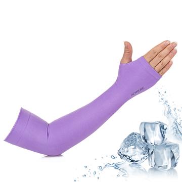 【活力揚邑】指孔涼感萊卡袖套防曬UPF50抗UV防蚊吸濕排汗自行車路跑登山臂套-優雅紫