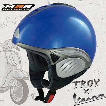 【M2R TROY 旅行帽】半罩式安全帽│超輕量950g│偉士牌VESPA│內藏墨片│散熱設計│雷根糖配色