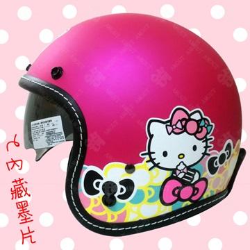 【Hello Kitty 七彩蝴蝶結 墨鏡騎士帽】安全帽 內置型遮陽鏡片│車縫線邊條