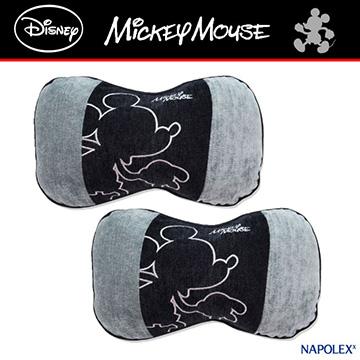 【WDC-45】日本 NAPOLEX Disney 米奇 頸靠墊 頭枕(灰黑色) - 2入【DouMyGo汽車百貨】