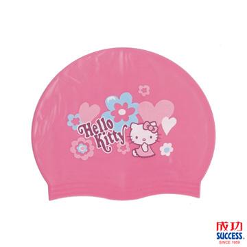 Success 成功牌 官方授權 HELLO KITTY-超彈性兒童矽膠泳帽