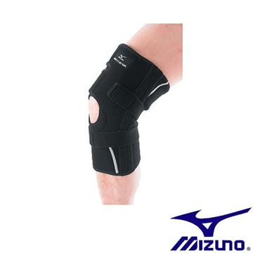 Mizuno BIO GEAR護膝 穩固支撐 V字可拆式強化帶 運動 1只  黑 白【運動世界】K2TJ6A0503