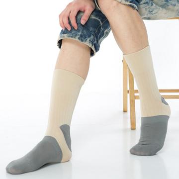 【KEROPPA】萊卡竹炭無痕寬口1/2短襪*2雙(男襪)C90003-卡其