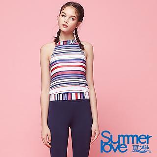【夏之戀SUMMER LOVE】大女條紋短版二件式S18726