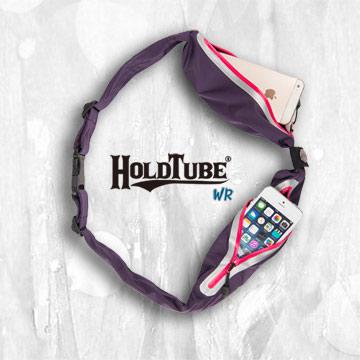 【HOLDTUBE】運動腰帶-防潑水雙口袋-紫粉
