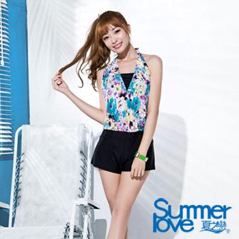 【SUMMERLOVE夏之戀】大女連身褲二件式印花泳衣