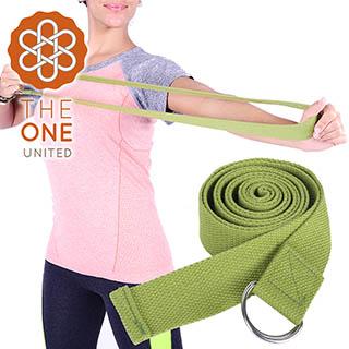 【The One】純棉瑜珈輔助拉力帶/瑜珈繩/伸展帶-深綠